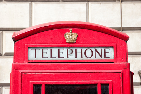 telephone box: Traditional red telephone box in London Stock Photo