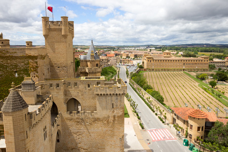 View over the medieval village of Olite in Navarra, Spain