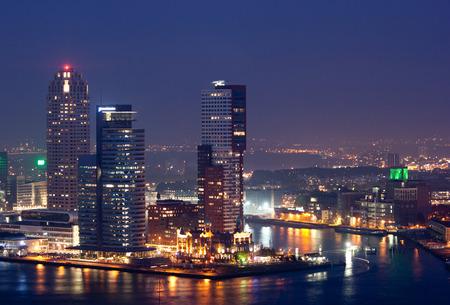 rotterdam: Rotterdam skyline at night