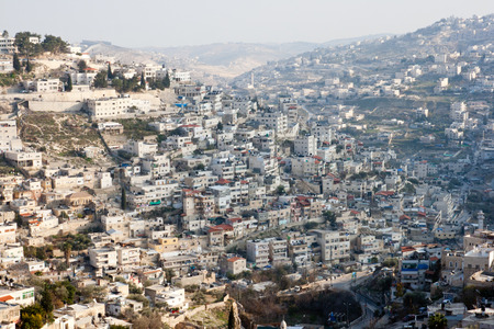 jewish houses: View from the old city walls on East-Jerusalem. Israel Stock Photo