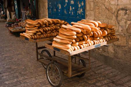 matzos: Cart of bread in the streets of Old Jerusalem. Stock Photo