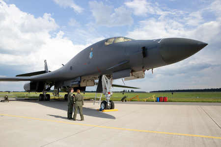 bomber: BERLIN, GERMANY - JUNE 2, 2016: US Air Force strategic bomber B-1B Lancer on display at the Exhibition ILA Berlin Air Show 2016 Editorial