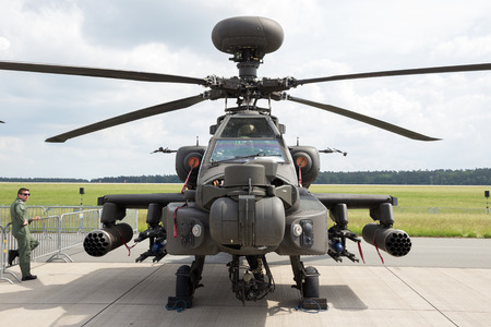 british army: BERLIN - JUN 2, 2016: British Army AH-64D attack helicopter on display at the Berlin ILA Airshow