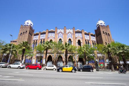 bullfighting: BARCELONA, SPAIN - JUN 21, 2016: Bullring and bullfighting arena Plaza Monumental de Barcelona (La Monumental). Editorial
