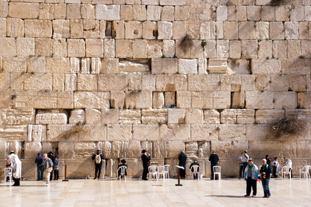 ERUSALEM, ISRAEL - JANUARY 23, 2011: Jewish worshipers pray at the Wailing Wall.