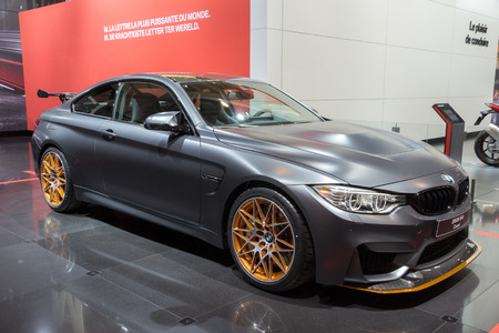 super car: BRUSSELS - JAN 12, 2016: BMW M4 GTS Coupe shown at the Brussels Motor Show.