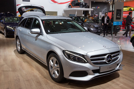 station wagon: BRUSSELS - JAN 12, 2016: Mercedes-Benz C 180d station wagon on display at the Brussels Motor Show.