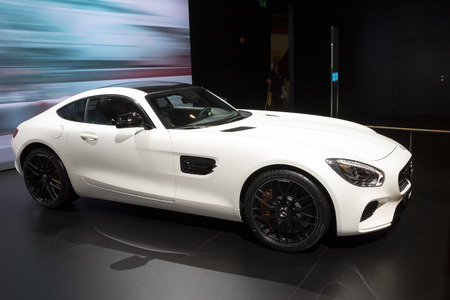 benz: BRUSSELS - JAN 12, 2016: Mercedes AMG SL 65 on display at the Brussels Motor Show.