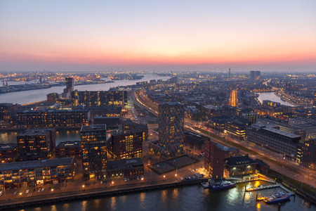 rotterdam: Part of the harbor of Rotterdam after sunset Stock Photo