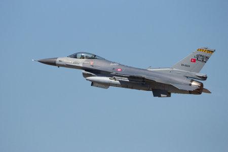 interceptor: ZARAGOZA, SPAIN - MAY 20,2016: Turkish Air Force F-16 fighter jet taking off from Zaragoza airbase.