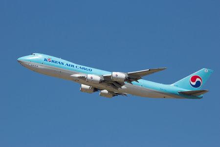 boeing 747: ZARAGOZA, SPAIN - MAY 20,2016: Korean Air Cargo Boeing 747 taking off from Zaragoza airport