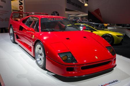 ferrari: AMSTERDAM - APRIL 16, 2015: Ferrari F40 sports car at the Amsterdam AutoRAI Motor Show