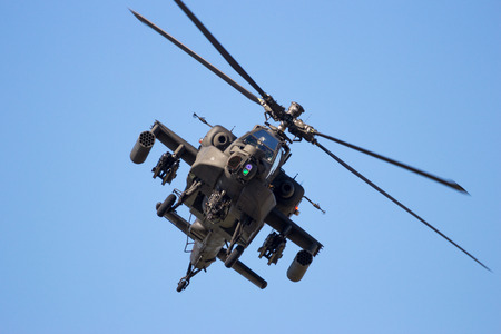 apache: GILZE-RIJEN, THE NETHERLANDS - SEP 7, 2016: Royal Netherlands Air Force Boeing AH-64 Apache attack helicopter.