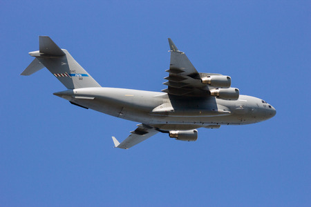 sac: GILZE RIJEN, THE NETHERLANDS - Hungarian Air Force Boeing C-17 Globemaster III overflight. The plane belongs to SAC and is used by a consortium of 12 nations.