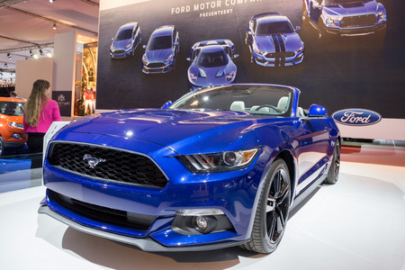motor cars: AMSTERDAM - APRIL 16, 2015: Ford Mustang at the Amsterdam AutoRAI Motor Show