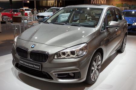 new car: AMSTERDAM - APRIL 16, 2015: BMW 2-Series Active Tourer on display at the Amsterdam AutoRAI Motor Show.