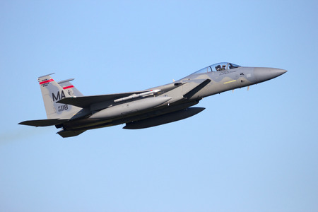 leeuwarden: LEEUWARDEN, NETHERLANDS - APR 11, 2016: Massachusetts Air National Guard F-15C Eagle take off. The ANG is in Europe for a 6-month deployment in support of Operation Atlantic Resolve. Editorial