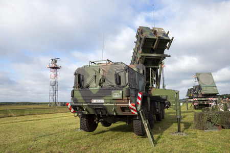 patriot: LAAGE, GERMANY - AUG 23, 2014: A German army mobile MIM-104 Patriot surface-to-air missile (SAM) system on display during the Laage airbase open house.