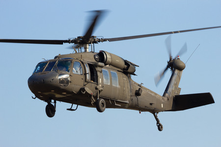 blackhawk helicopter: American Army helicopter taking off. Stock Photo