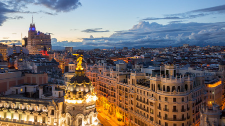 gran via: Panoramic sunset view on Gran Via, the main shopping street in Madrid.