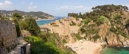 View on the beaches of Tossa de Mar, Costa Brava, Spain Stock Photo