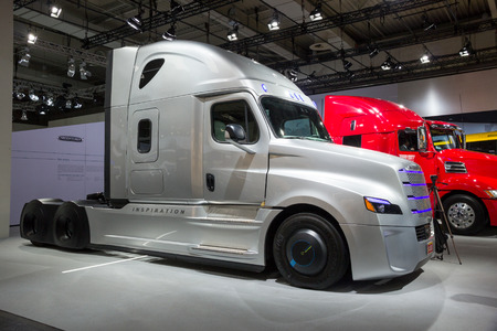 freightliner: HANNOVER, GERMANY - SEP 21, 2016: Freightliner Inspiration Truck on display at the International Motor Show for Commercial Vehicles.