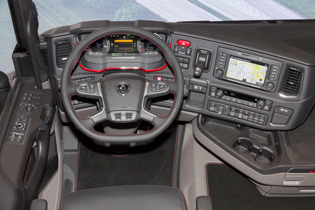 new motor vehicles: HANNOVER, GERMANY - SEP 21, 2016: New Scania truck interior at the International Motor Show for Commercial Vehicles. Editorial
