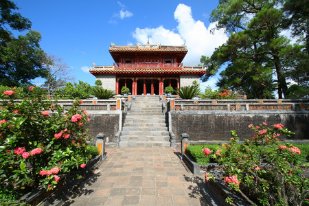 HUE, VIETNAM - AUG 31, 2009: Tomb of Minh Mang of the Nguygen dynasty near Hue, Vietnam