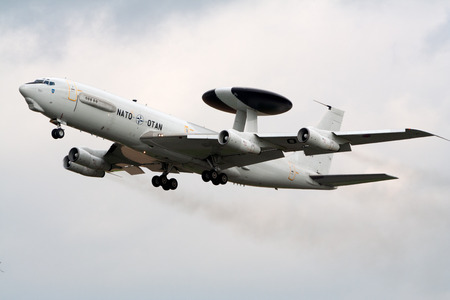boeing: BEAUVECHAIN, BELGIUM - SEP 15, 2005: NATO Boeing E-3 Sentry radar plane taking off from the Beauvechain airbase.
