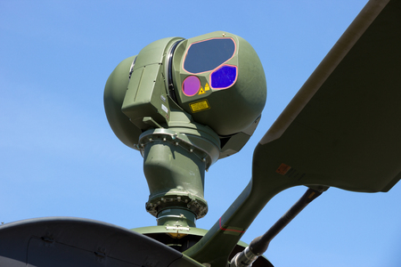 ccd: Mast-mounted sight with infrared and CCD TV cameras on a EC665 Tiger attack helicopter