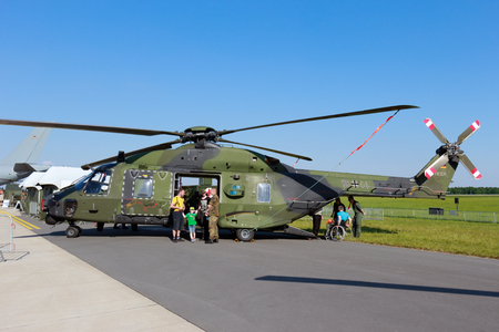 aerospace: BERLIN, GERMANY - MAY 22: German Army NH90 helicopter at the International Aerospace Exhibition ILA on May 22nd, 2014 in Berlin, Germany.