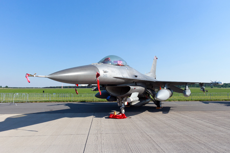 lockheed martin: BERLIN, GERMANY - MAY 22: US Air Force F-16C at the International Aerospace Exhibition ILA on May 22nd, 2014 in Berlin, Germany.