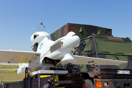 LUNA: BERLIN, GERMANY - MAY 22: Unmanned aerial vehicle EMT Luna X-2000 of the German Air Force at the International Aerospace Exhibition ILA on May 22nd, 2014 in Berlin, Germany.