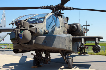 BERLIN, GERMANY - MAY 22: US Army Boeing AH-64D Apache Longbow attack helicopter at the International Aerospace Exhibition ILA on May 22nd, 2014 in Berlin, Germany.