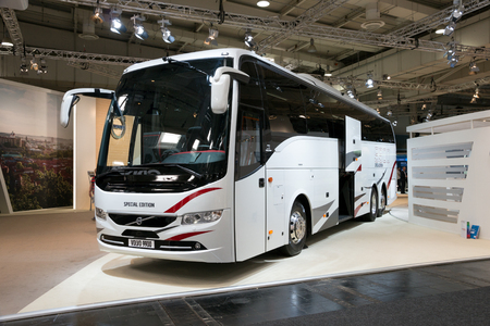 new motor vehicles: HANNOVER, GERMANY - SEP 21, 2016: Volvo 9900 coach bus at the International Motor Show for Commercial Vehicles.