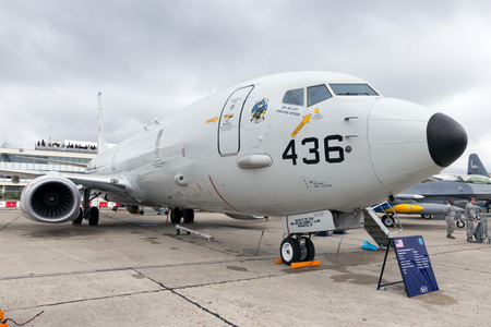 int: PARIS-LE BOURGET - JUN 18, 2015: US Navy Boeing P-8 Poseidon at the 51st Int. Paris Air show. Used for anti-submarine warfare, anti-surface warfare and as a maritime patrol aircraft. Editorial