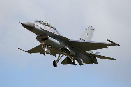 leeuwarden: LEEUWARDEN, THE NETHERLANDS - APR 8, 2016: Royal Netherlands Air Force F-16 landing during exercise Frisian Flag.