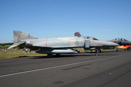 aircraft bomber: GILZE-RIJEN, NETHERLANDS - JUN 18, 2005: Greek Air Force F-4 Phantom fighter jet on static display during the Royal Netherlands Air Force Open Day.