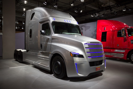 uto: HANNOVER, GERMANY - SEP 21, 2016: Freightliner Inspiration Truck on display at the International Motor Show for Commercial Vehicles.