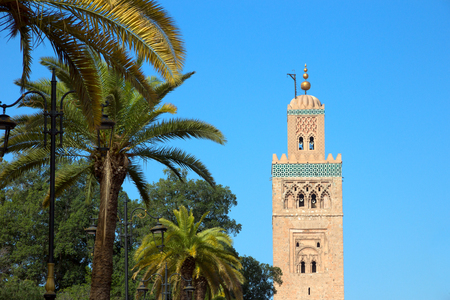 View on the Koutoubia mosque in Marrakesh, Morocco. The mosque is the largest in this city.