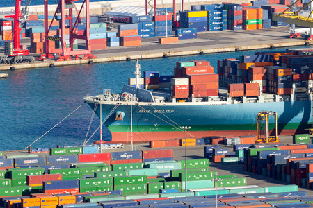BARCELONA, SPAIN - MAY 21, 2016: Ship moored in the container terminal from the Port of Barcelona.