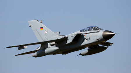 GILZE-RIJEN, THE NETHERLANDS - SEP 7, 2016: German Air Force Tornado bomber jet making a fast flyby over the airbase