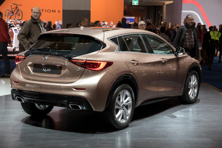 motor cars: BRUSSELS - JAN 19, 2017: Infiniti Q30 on display at the Motor Show Brussels.