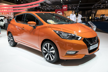 motor cars: BRUSSELS - JAN 19, 2017: New 2017 Nissan Micra presented at the Motor Show Brussels.