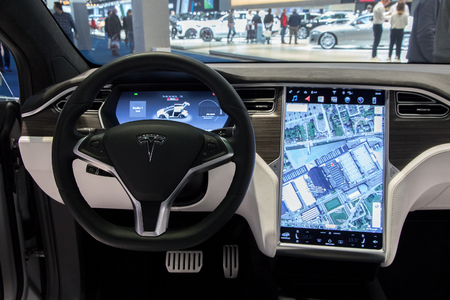 BRUSSELS - JAN 19, 2017: Interior dashboard with navigation of the Tesla Model X on display at the Motor Show Brussels.