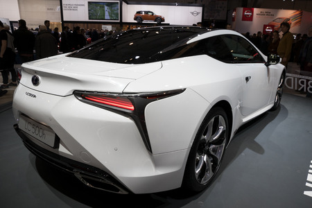 lexus auto: BRUSSELS - JAN 19, 2017: Lexus LC500h hybrid car on display at the Motor Show Brussels. Editorial