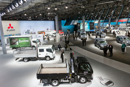 automobile: HANNOVER, GERMANY - SEP 21, 2016: View on some vehicles presented at the International Motor Show for Commercial Vehicles. Editorial