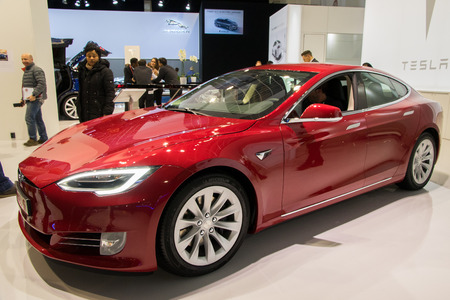 BRUSSELS - JAN 19, 2017: Tesla Model S electric car on display at the Motor Show Brussels. Editorial