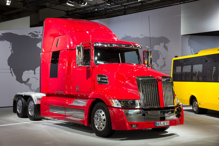 HANNOVER, GERMANY - SEP 21, 2016:  Western Star 5700 truck on display at the International Motor Show for Commercial Vehicles.