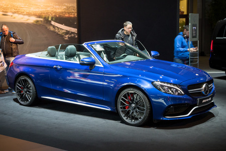 BRUSSELS - JAN 19, 2017: Mercedes-AMG SL65 on display at the Motor Show Brussels.